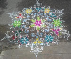 Rangoli for a local famous festival
