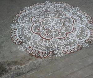 Rangoli: Special rangoli for local temple -Kumbabhishekam