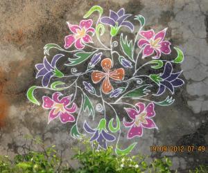 Rangoli: Flowers kolam