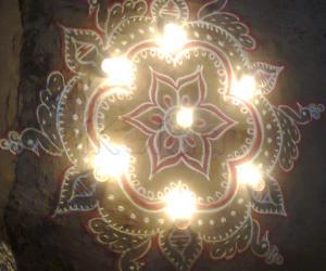 Free Hand Design in Karthigai Deepam Evening
