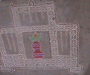 Rangoli: Marriage hall with kalash