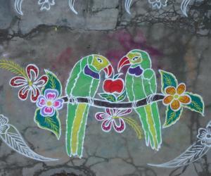 Rangoli: Parrot Kolam