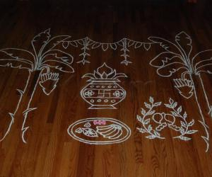 Rangoli: Outline of the Rangoli before coloring
