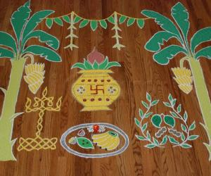 Rangoli: Tamil New Year/Ugadhi Rangoli (Better top view angle)