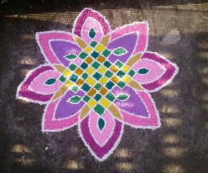 Rangoli: The opened 8 petal lotus