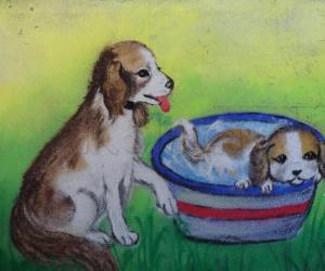 Rangoli: dog and  puppy