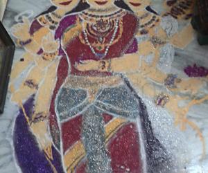 Goddesses rangoli for Navratri Golu