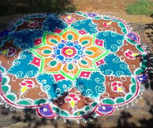 freehand colour rangoli