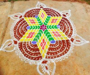 Rangoli: Navarathri rangoli Day 1 - 2015