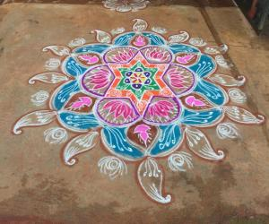 Navarathri rangoli Day 2 - 2015