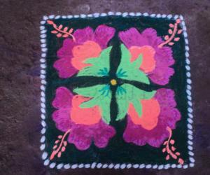 Rangoli: carpet with flower
