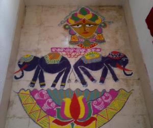 Rangoli: Goddess Laxmi and elephant rangoli...made on the occaison of GajaLaxmi Puja at home