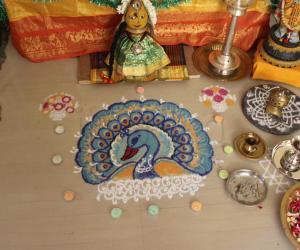 Rangoli: peacock rangoli done for golu 2013
