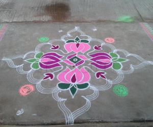 Rangoli: Lotus kolam