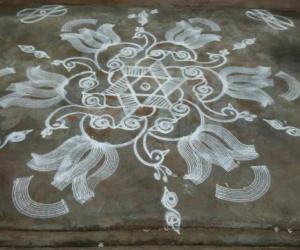 Sangu Kolam with peacocks