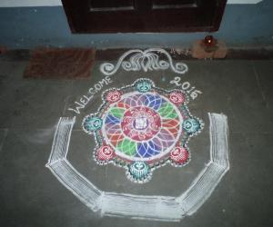 happy new year  free hand rangoli