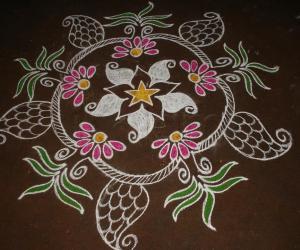 Rangoli: Star Design with Colors