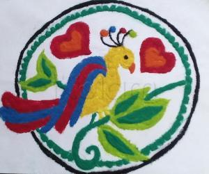 Rangoli: panchavarna kili rangoli