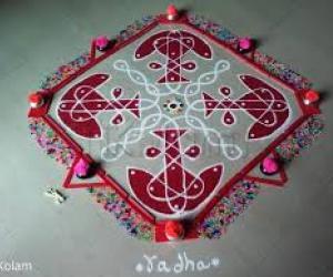 2020 Dashara Rangolis Day 4 Red Color
