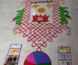 Rangoli: CHARIOT IN CHIKKU(O.I.) FOR RATHA SAPTHAMI