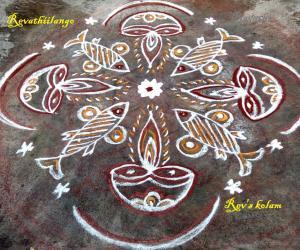 Rangoli: Rev's daily kolam fish deepam