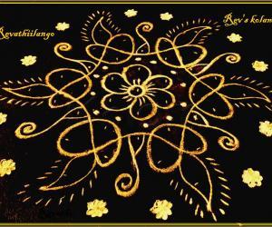 Rangoli: Rev's easy chikku 16 flower & deepam.
