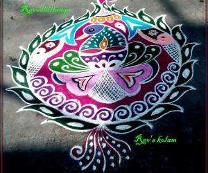 Rangoli: Rev's peacock design margazhi 3.