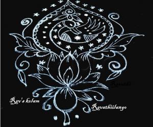 Rangoli: Rev's peacock design in black & white.