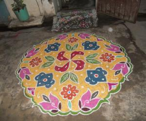 New year kolam. Dotted Rangoli.