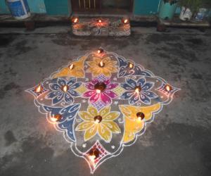 Karthigai deepam colour kolam.