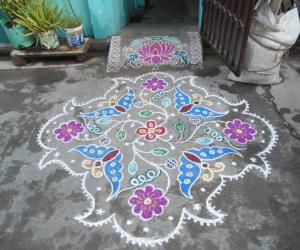 Butterflies & flowers with different outline. Markazhi  Kolam.