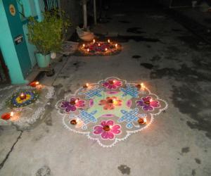 Karthigai Kolam & Deepam decoration
