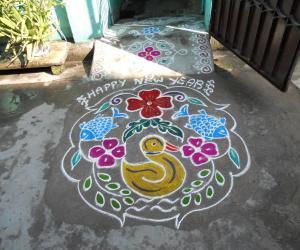 Tamil newyear. Duck & fishes kolam.