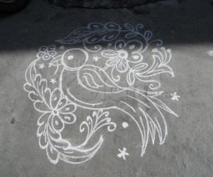 Rangoli: Daily kolam. Parrot on a branch.