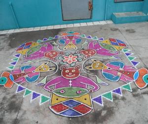 Teddy bear drums & fox nadaswaram Kolam. Rare kolam.