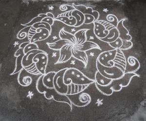 Friday sangu kolam in white.