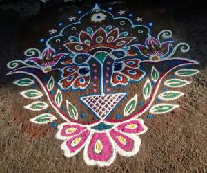 Rangoli: Rev's designed peacocks.