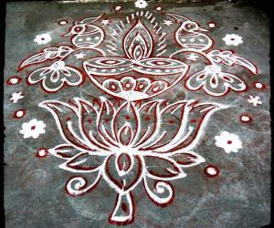 Rangoli: Rev's lotus peacock deepam.