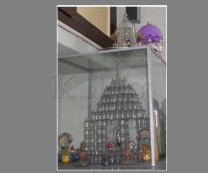 Glass house. This craft is made  with  injection bottles.