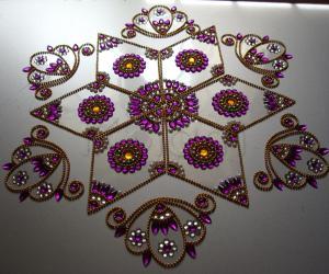 Kundan rangoli purple
