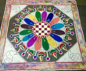 Diwali kolam with colourful lamp