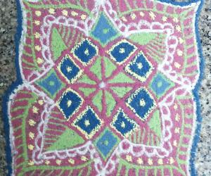 Rangoli: freehand rangoli  with recycled colours
