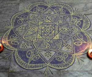 Rangoli:  Freehand rangoli with colours from my margazhi collections