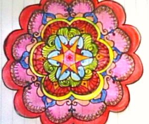 Freehand paper rangoli with colours