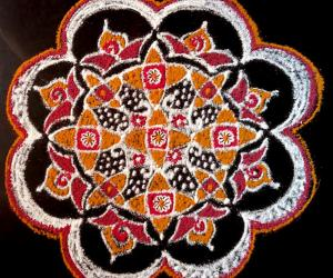 Dotted Pooja Kolam with  freehand  extension