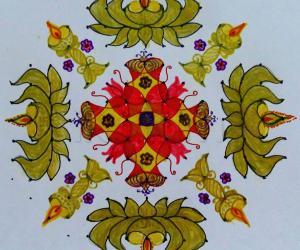 Lotus Diyas with Kuththu Vilakku Rangoli for Karthigai.  Dot count  15×5; till 5 Straight dots