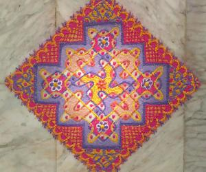 Day 3 Margazhi kolam - Multi coloured chikku mat