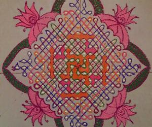 Chikku Kolam with 21-1 straight dots with colours.