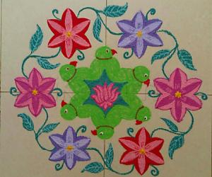 Margazhi Day 28 Kolam -  A  dotted parrot with flowers rangoli with 15-8  interlaced dots.