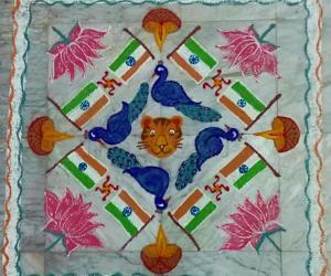 Rangoli: Republic day Rangoli with National Flag